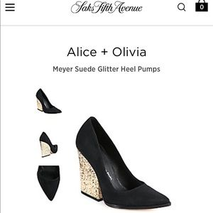 c7b54998188f Alice + Olivia Shoes - Alice   Olivia Meyer Suede Glitter Heel Pumps